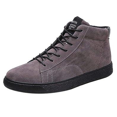 Logobeing Botines Hombre Zapatillas Calzado Casual de Hombre Botas Altas Botas Cálidas de Tobillo Botas de