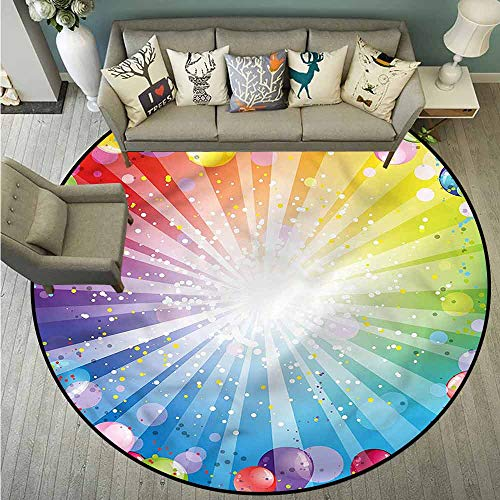Round Carpet,Birthday,Festive Balloons Confetti,Super Absorbs Mud,2'11