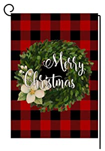 BLKWHT Red Black Buffalo Boxwood Wreath Small Garden Flag Vertical Double Sided Farmhouse Merry Christmas Burlap Yard Outdoor Decor 12.5 x 18 Inches (167245)