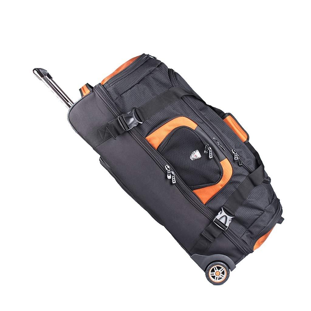 LISH トロリーバッグ、バックパック、ハンドバッグ、登山バッグ、荷物用トロリーケース、防水トラベルバッグ、サイレントラバーホイール、大容量 (色 : Black-A#, サイズ さいず : 88L) 88L Black-A# B07L3FKFMT