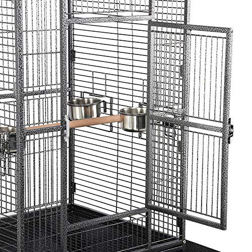 Yaheetech 69-inch Wrought Iron Rolling Large Bird Cages for African Grey Small Quaker Amazon Parrots Cockatiels Sun Parakeets Green Cheek Conures Doves Lovebirds Budgies Play Top Bird Cage with Stand