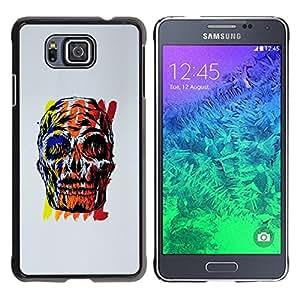 "For Samsung Galaxy Alpha G850 Case , Red Skull gris cartel colorido amarillo"" - Diseño Patrón Teléfono Caso Cubierta Case Bumper Duro Protección Case Cover Funda"