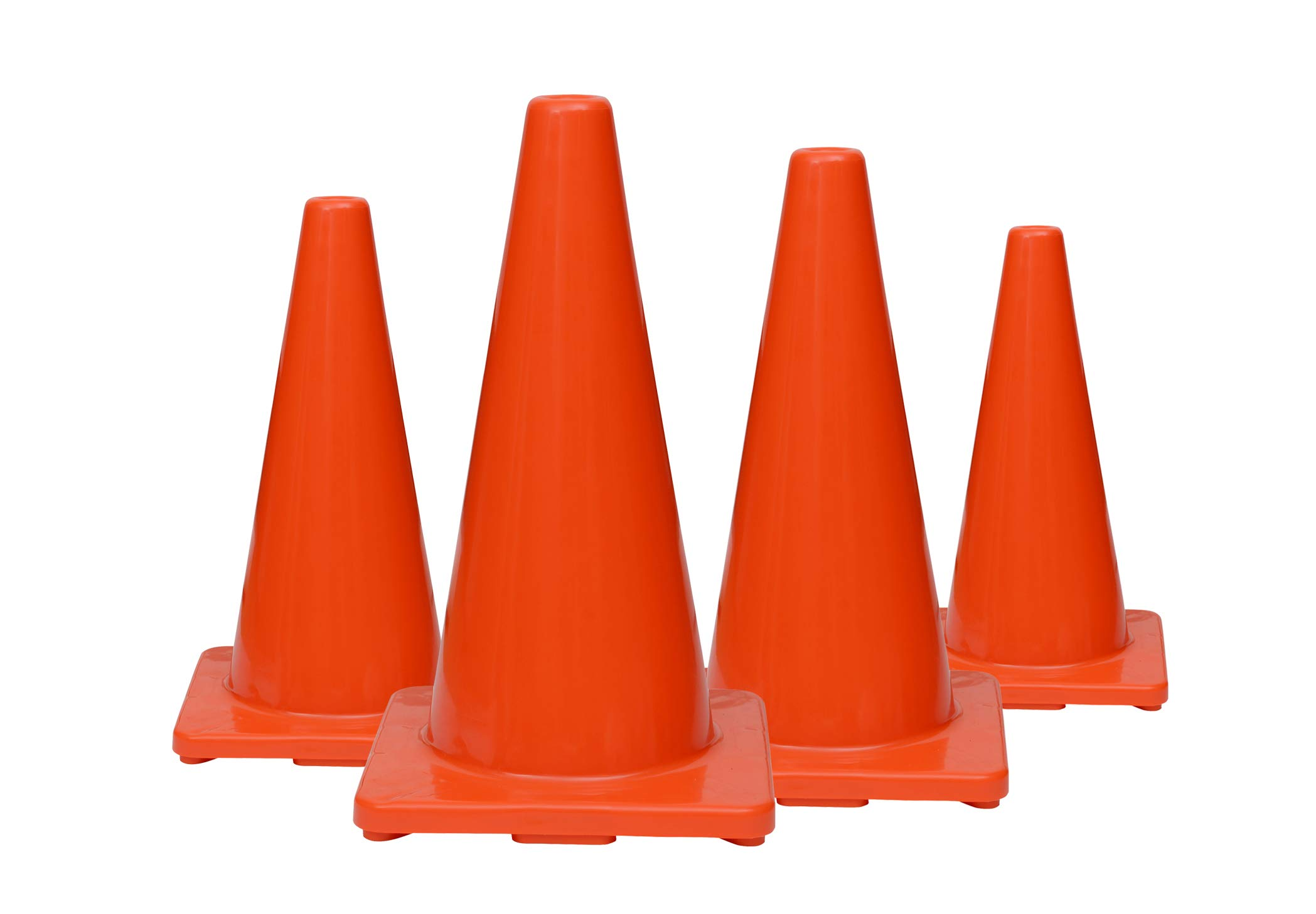 (Set of 12) CJ Safety 18'' Orange Premium PVC Safety Cones - No Reflective Collar (12 Cones) by CJ Safety