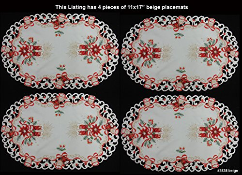 4PCS Holiday Christmas Embroidered Poinsettia Candle Bell Placemats 11x17