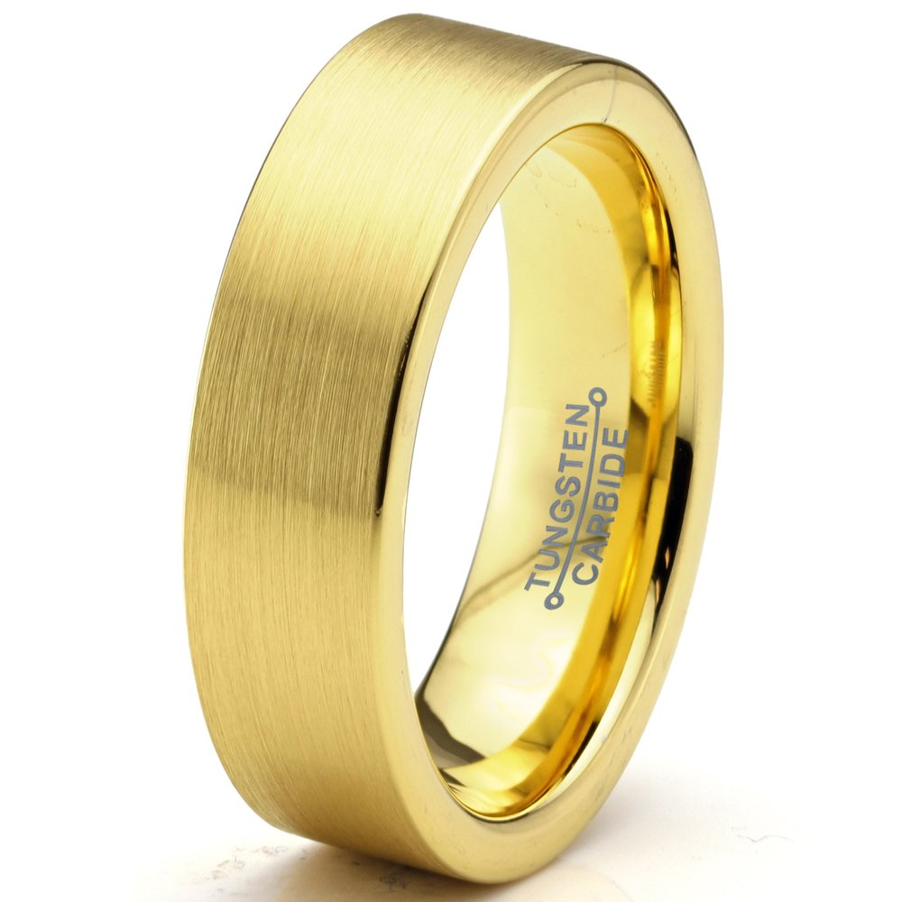 Charming Jewelers Tungsten Wedding Band Ring 6mm for Men Women Comfort Fit 18K Yellow Gold Plated Flat Cut Brushed Polished Size 12.5