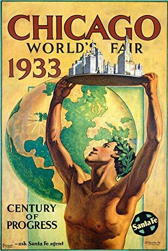 Chicago World's Fair 1933 (artist: Villa) USA c. 1933 - Vintage Advertisement (12x18 Art Print, Wall Decor Travel Poster)
