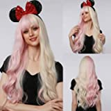 Esmee 28'Women Synthetic Wigs Long Wavy Pink/White with Fluffy Air Bangs Light Cosplay Party Wigs