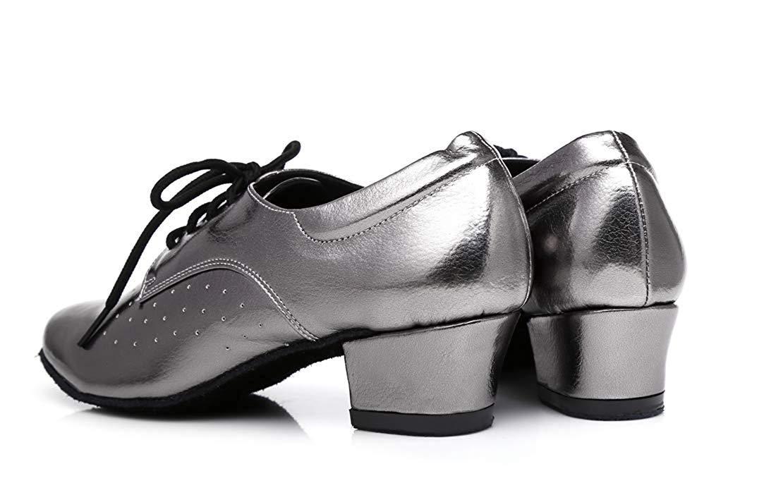 Qiusa Frauen Lace-up atmungsaktiv Block niedrigen Latin Ferse Ballroom Latin niedrigen Tanzschuhe grau UK 7.5 (Farbe   - Größe   -) da969f