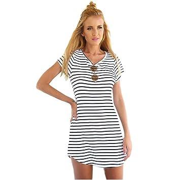 Vestido para Mujer, Estilo Europeo y Americano, Diseño de Rayas de Mar, Cuello en V, Vestido de Verano con Volantes, Estilo Vintage, para Bodycon: ...
