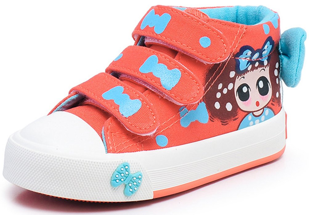 VECJUNIA Girl's Lady's Lovely Bow Cartoon Round Toe Ankle High Hook-and-Loop Flats Sneakers (Orange, 8 M US Toddler8 M US Toddler)