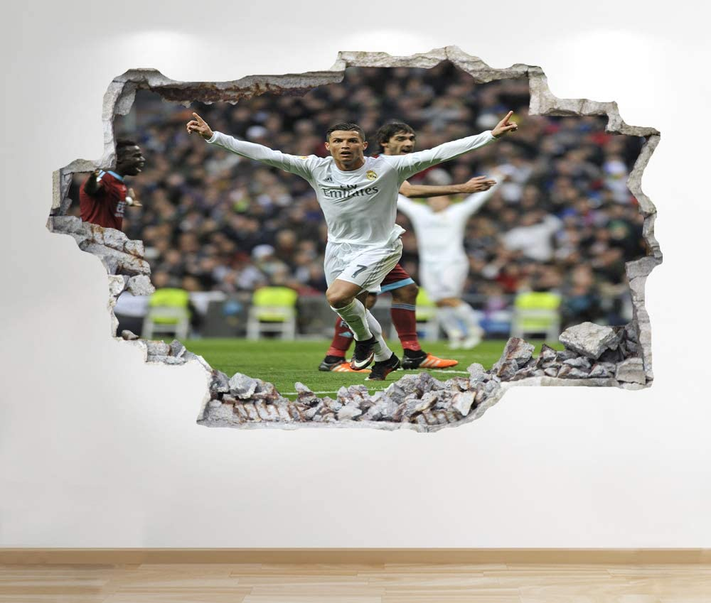 Gar/çons Enfants Football Chambre Z207 1Stop Graphics Shop Cristiano Ronaldo Autocollant Mural 3D Look 60 cm x 90 cm Medium