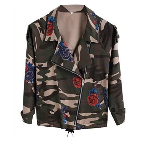 Jacket Outwear Women Long Sleeve Zipper Rose Print Army Camo Camouflage Casual Military Autumn Winte...