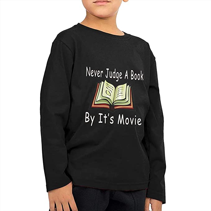 84a37f94 Children Never Judge A Book by Its Movie Comfortable Daily Cotton Long  Sleeves Tshirts Black \