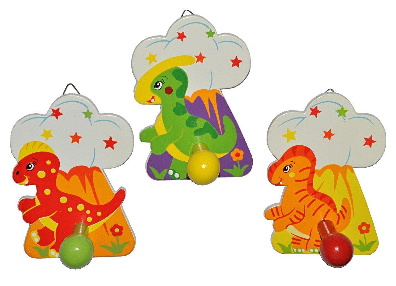 Unbekannt 1 Stück - Garderobenhaken Dino Holz - Wandhaken Kindergarderobe Kleiderhaken Kind Dinosaurier Dinos Garderobe Kinder-Land