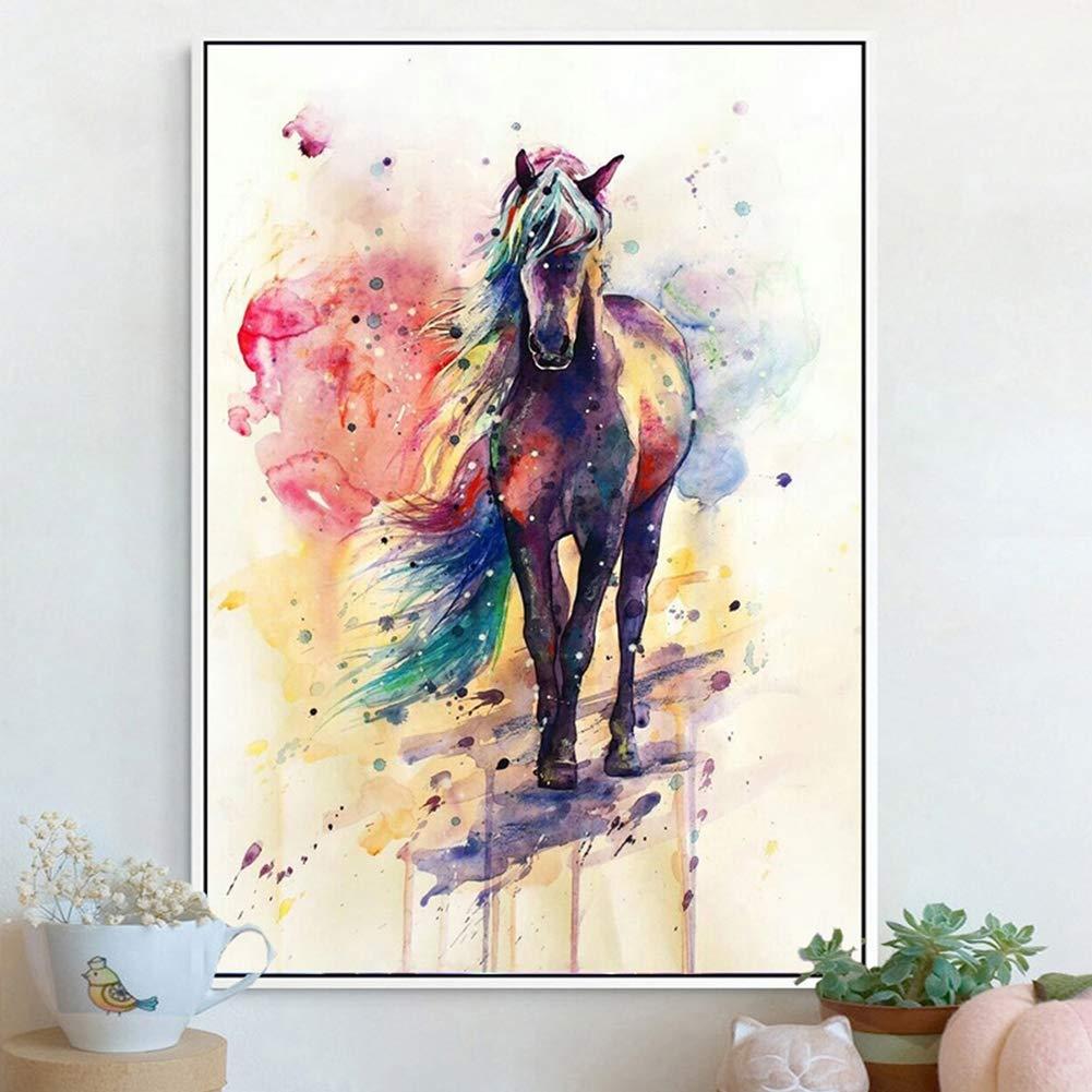RIsxffp Peinture Murale Decor Toile Peinture Aquarelle Cheval Tableau Affiche Murale Bureau Salle d/écoration 21 30cm
