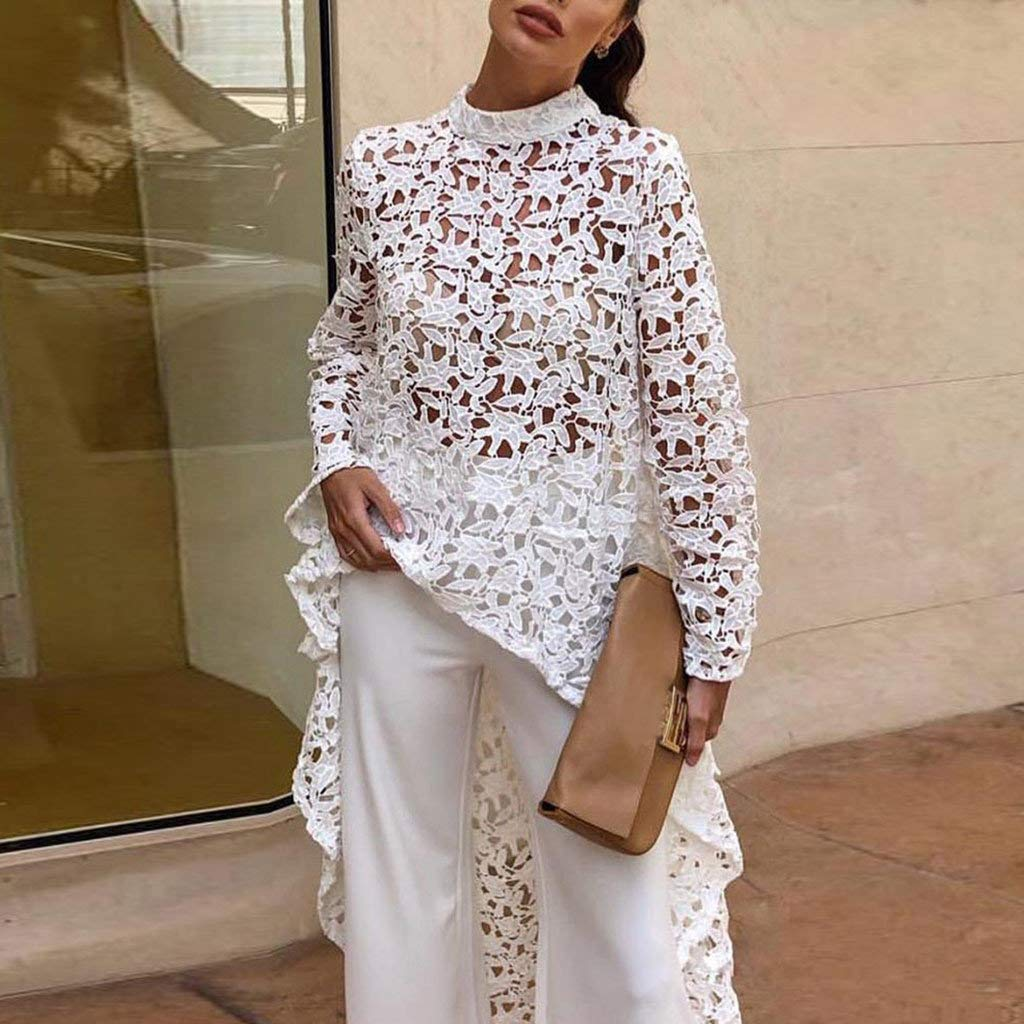 jam#ous Cute Women Lace Hollow Out Shirt Long Sleeve Irregular Turtle Neck Tee Tops Blouse Sexy Halter 2019 Autumn New White by jam#ous (Image #1)