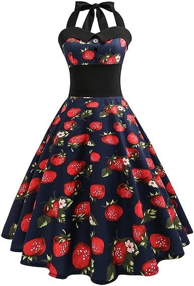 Lenfesh Mujer Linda Dulce Vestidos De Fresa Corto Halter Rretro Vintage 50s 60s Rockabilly: Amazon.es: Ropa y accesorios