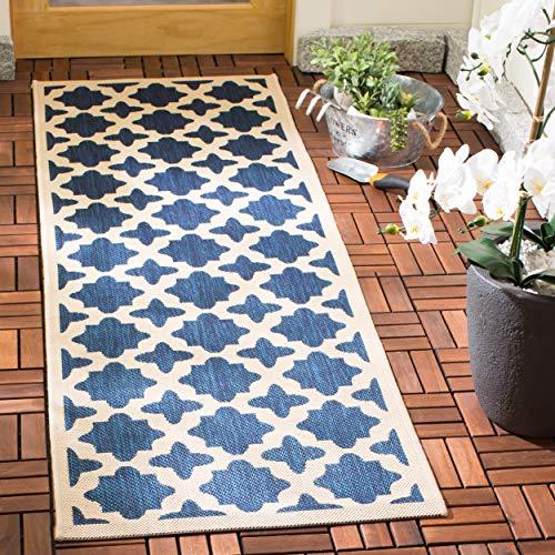 Safavieh Courtyard Collection CY6913-268 Navy and Beige Indoor/ Outdoor Runner (2'3