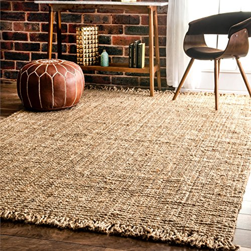 nuLOOM NCCL01 Natura Collection Chunky Loop Jute Natural Fibers Hand Woven Area Rug, 6' x 9', (Natural Rug)