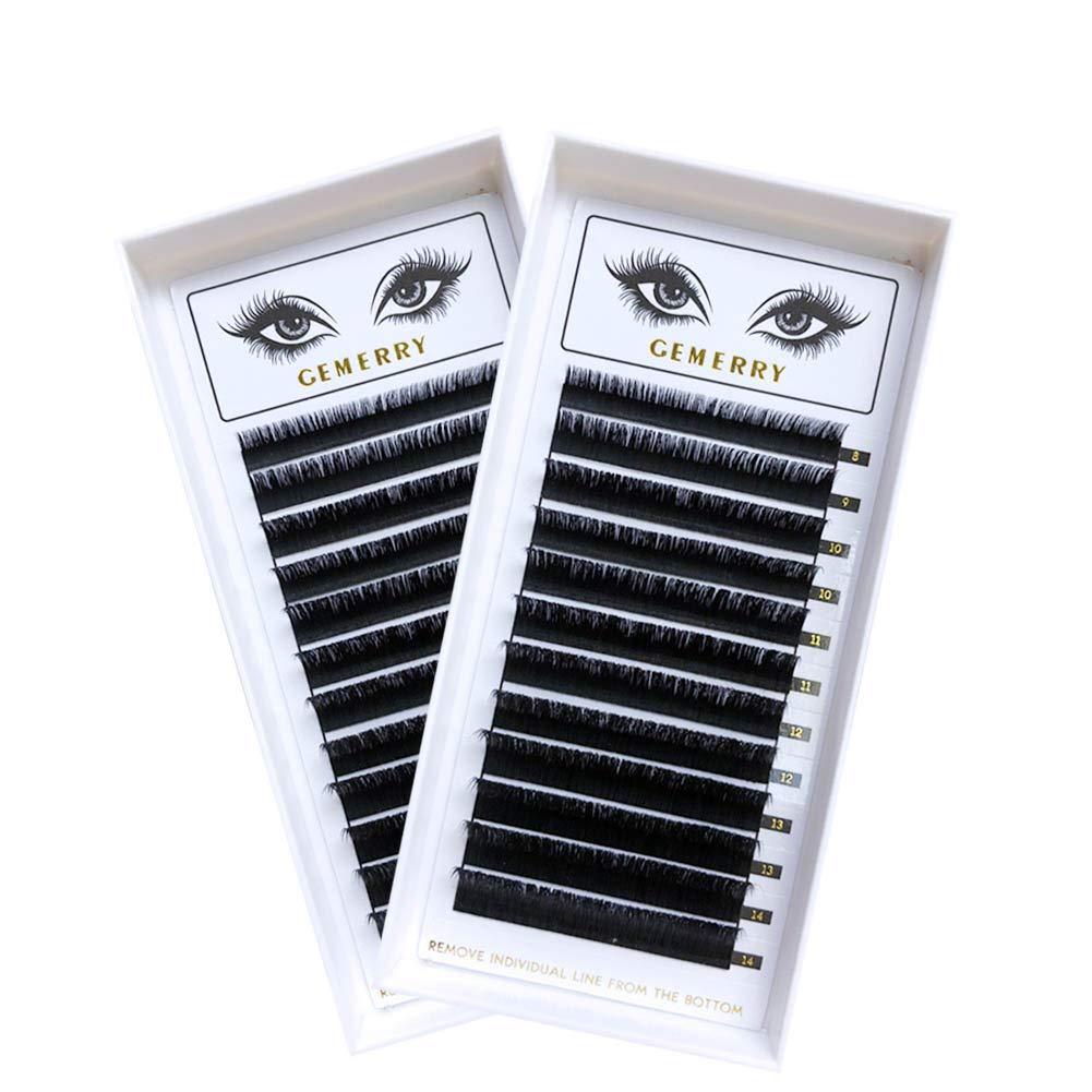 2 bandejas de extensiones de pestañas, volumen individual pestañas C curl 0.05 longitud mixta 8-14 mm fácil de ventilar Natraul Look perfecto para ...