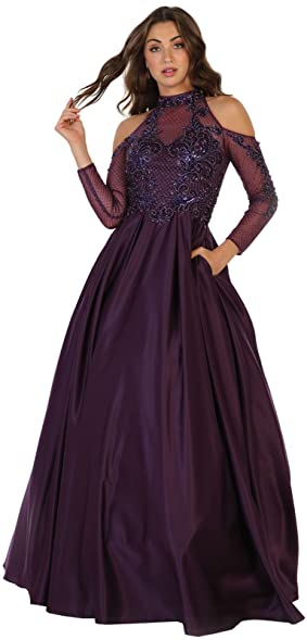 Royal Queen RQ7517 Choker Neckline Prom Evening Formal Gown (4, Eggplant)