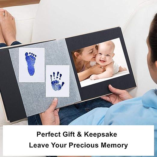 Nopson Baby Inkless Pad f/ür Baby Fu/ßabdr/ücke Handabdr/ücke und Fingerabdr/ücke Kit mit 4 zus/ätzlichen Impressum Karten perfekt halten Baby Memory-Baby-Dusche-Geschenk schwarz