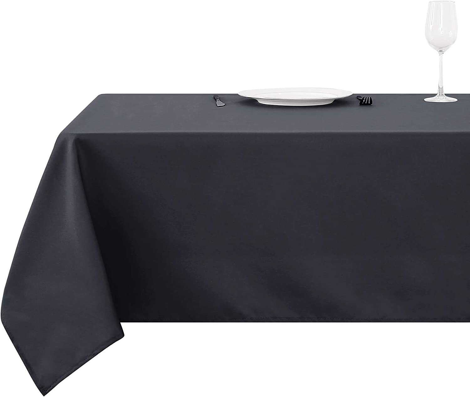 Deconovo Wrinkle Free Tablecloth Dust-Proof Water Resistant Tablecloths for Dining Room Table 54x102 Inch,Dark Grey