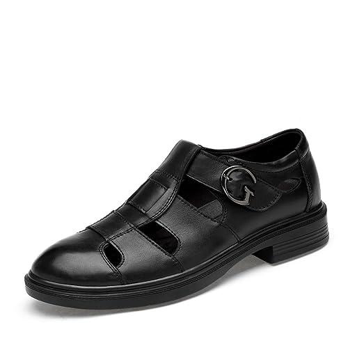 ailishabroy Zapatos de Verano Para Hombres y Mujeres Zapatos de Cuero Respirables De Cuero Negros Mocasines
