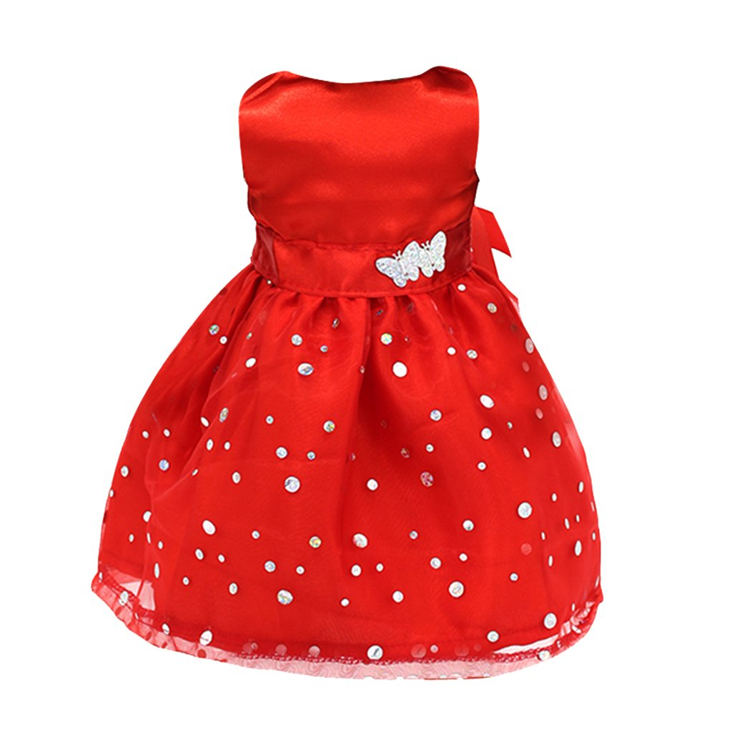 Fashion Sleeveless Party Prom Gown Dress Clothing for 18 Inch AG American Girl Our Generation Dolls Red Generic