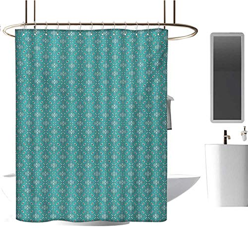 Nantucket Floral Picture Frame - MKOK Shower Curtain home36 x72 Turquoise,Moroccan in Geometric Rectangular Frames with Floral Arrangement,Turquoise Dark Blue White,Polyester Bathroom Shower Curtain Set with Hooks