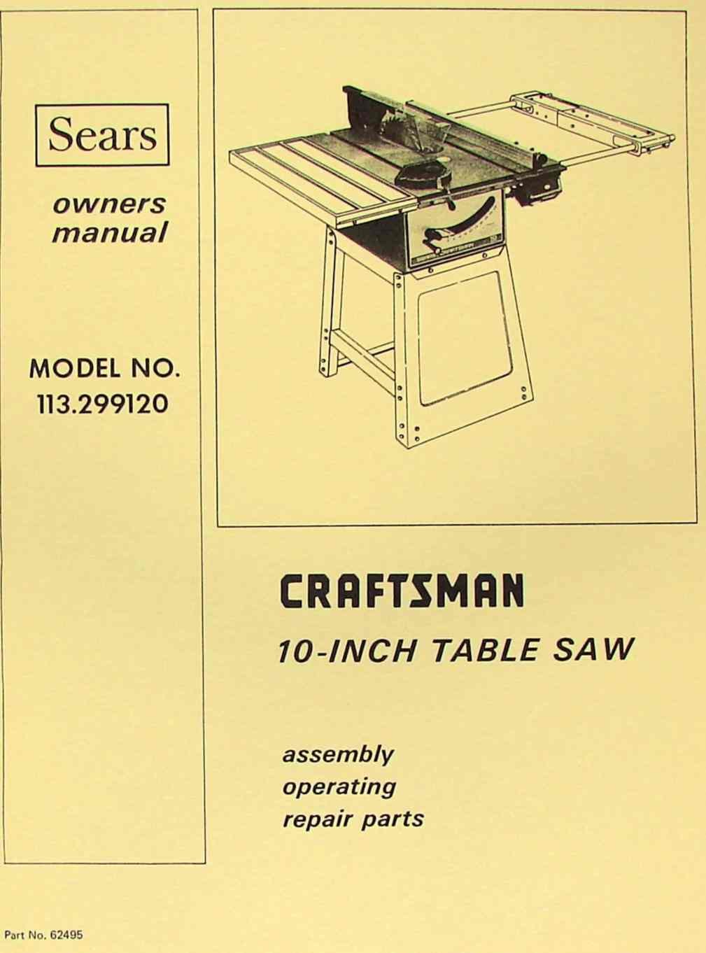 Craftsman 10 Table Saw Owners Manual Www