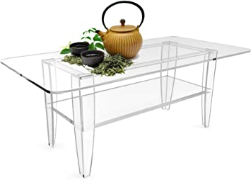 Amazon Com Fixturedisplays All Clear Coffee Table Plexiglass Frame Glass Tops 14695 14695 Office Products