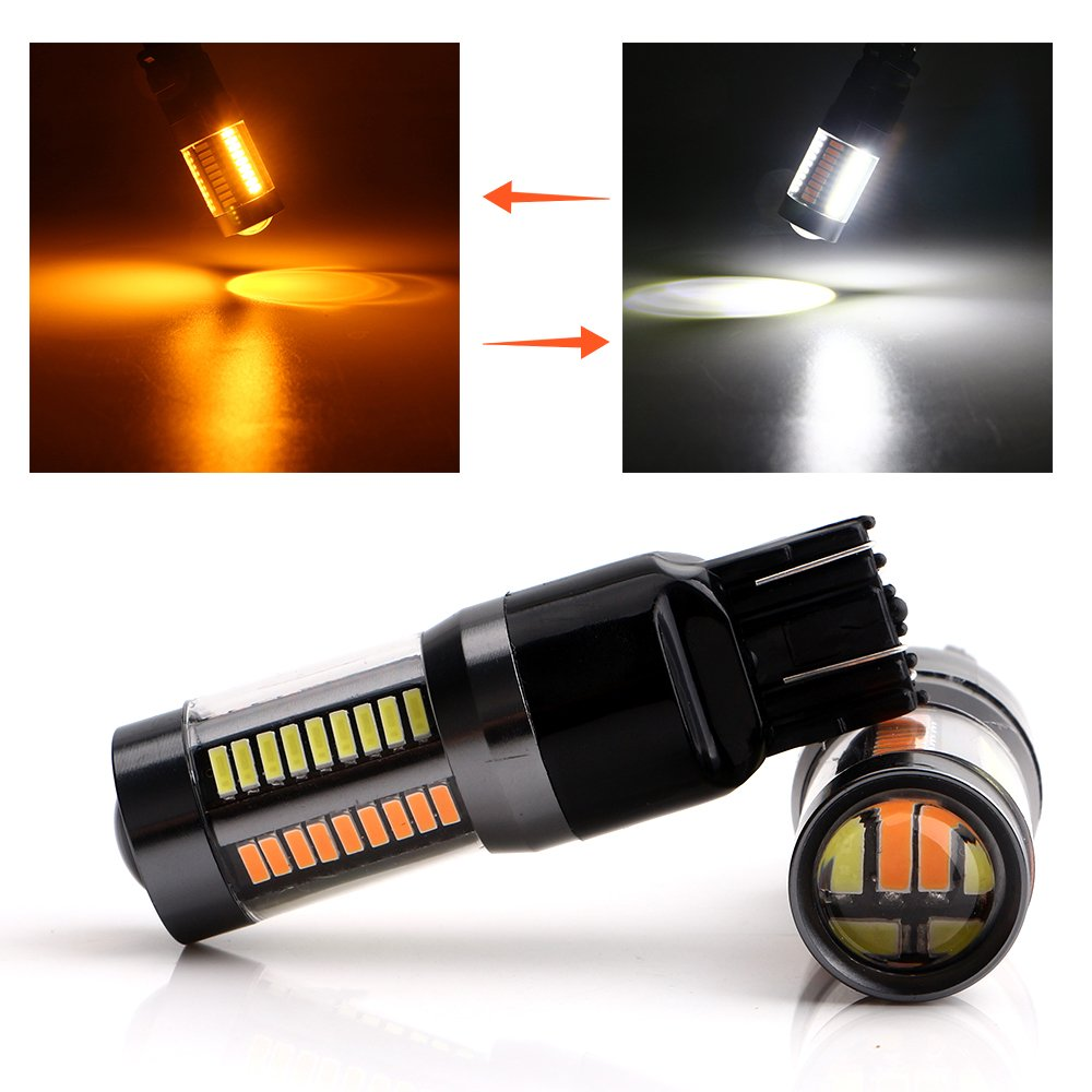 Grandview 2pcs 1157 BAY15D 1016 1034 7528 2057 2357 Extremely Bright 990LM White/Amber Dual Color Switchback 4014 Chipsets 66SMD LED Bulbs Turn Signal Light Daytime Running Light 8000K 12V