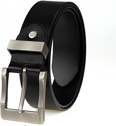 Geremen Mens 38mm Silver Buckle Black Leather Business Belt F89