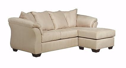 Ashley Furniture Signature Design   Darcy Contemporary Microfiber Sofa  Chaise   Stone
