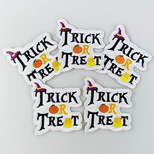 10pcs Halloween Trick or Tread Lettler Candy Corn Pumpkin Iron On Sew On Cloth Embroidered Patches Appliques Machine Embroidery Needlecraft Sewing Projects 60x65mm -
