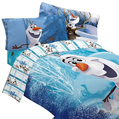 4pc Disney Frozen Twin Bedding Set Olaf Build a Snowman Comforter and Sheet Set