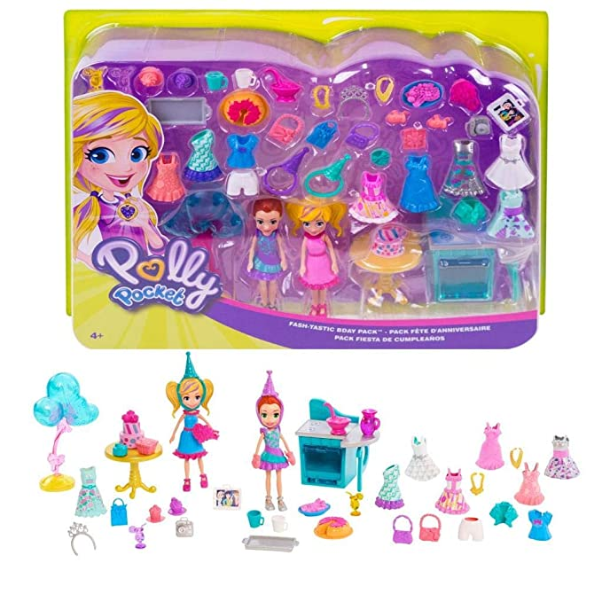 Polly Pocket Birthday Party Pack - Over 30 Birthday-Themed Fashions and Accessories! Includes 3-inch Polly Doll, 3-inch Lila Dol