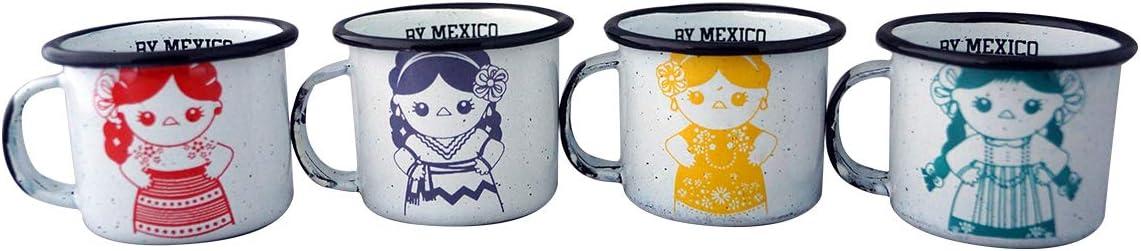 By Mexico Mini Enamel well//Mini Pocillo de peltre Mar/ía Doll// Mu/ñeca Mar/ía Mexican Designs