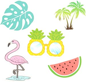 Vinyl Laptop Sticker,Cute Flamingo/Watermelon/Pineapple Glasses/Monstera Leaves/Coconut Tree 5 PCS Sticker for Water Bottle,Waterproof Decal Sticker for Phone,Travel,Computer,Car (Colorful)