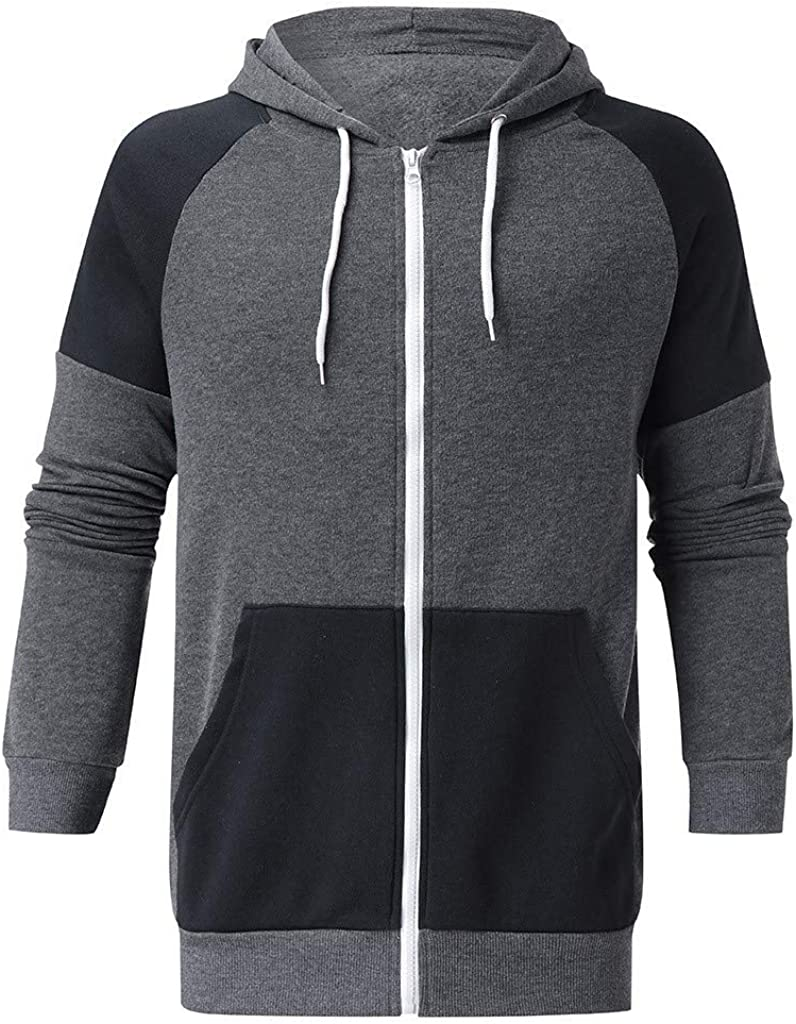 Mens Hoodies Beautyfine Warm Winter Long Sleeve Patchwork Sweatshirt Hooded Top Outwear