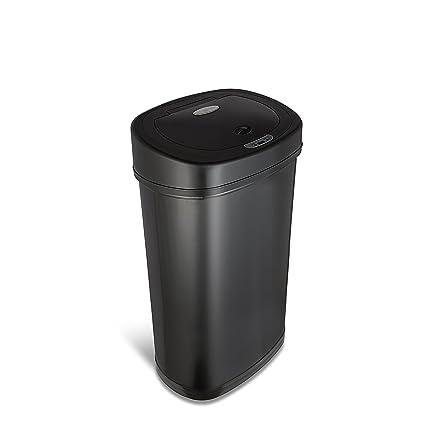 NINESTARS DZT 50 9BK Automatic Touchless Motion Sensor Oval Trash Can, 13.2  Gal