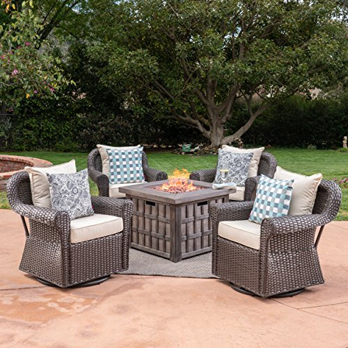 Great Deal Furniture Andy Outdoor 5 Piece Wicker Swivel Club Chair with Aluminum Frame and Fire Pit Set, Dark Brown with Beige and Brown Aluminum 5 Piece Club Chair