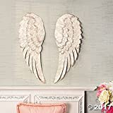 ANTIQUE WHITE METAL ANGEL WINGS WALL DECORATIONS LARGE BEAUTIFUL SET OF 2 NEW