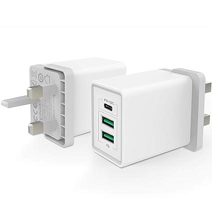 DITHSTA® Cargador multipuerto, cargador USB de carga rápida ...