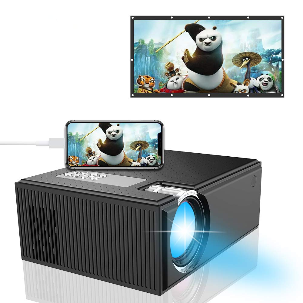 Smart Home Projector, iBosi Cheng Portable Full HD Video Projector Support 1080P with Multi-Screen Display, HDMI VGA USB AV SD Compatible with PC Laptop iOS Android Smartphone Tablets Gaming Devices
