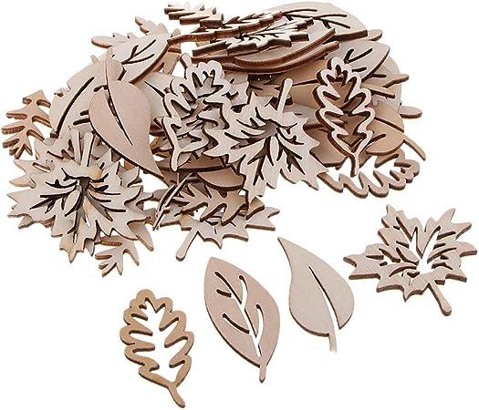 50pcs Holz Blätter Holzanhänger Holzscheiben Baumdeko Wanddeko Türdeko