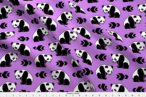 (Spoonflower Panda Fabric - Panda Bear Geometric Panda Panda Arrows Panda with Purple Backg Panda Nursery Baby Girl Nursery by Peek A Boo Panda Printed on Fleece Fabric by The Yard)
