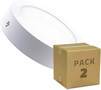 LEDKIA LIGHTING Pack Plafones LED Circular 18W (2 un) Blanco Cálido 2800K - 3200K: Amazon.es: Iluminación