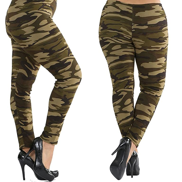TOP Fashion Plus Size Fleece Army Camo Leggings Gothic Punk Rock Rockabilly Curvy Tall